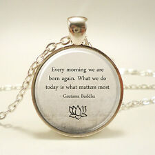 Buddhist Quote Necklace, Buddha Quote Jewelry, Buddhist Necklace, Every Morning
