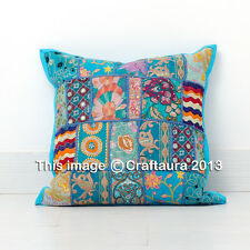 """24"""" INDIAN PILLOW CUSHION COVER THROW PATCHWORK Vintage Ethnic Decor Art"""