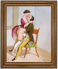 Ölbild Liebesakt, Akte, nackte Frau, Nude, Ölgemälde Nude HANDGEMALT 50x60cm