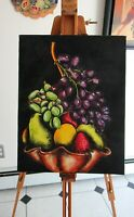 "ACRYLIC ON CANVAS PAINTING ""STILL LIFE WITH GRAPES"" 2000;  14"" x 11""  -UNFRAMED"