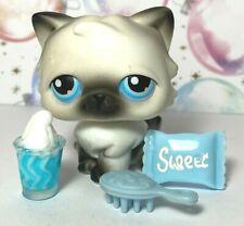 Authentic Littlest Pet Shop #60 Black White Persian Cat Blue Eyes Lot Lps *Note