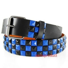 Pyramid Studded Snap On Leather Belt S 30-32 BlK & Blue