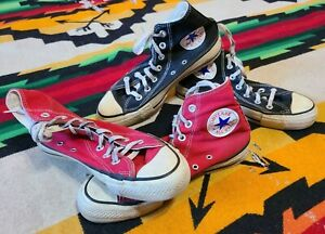 2 Vtg 70s Converse Chucks Taylor hi top canvas USA shoes sneakers 5 and 5.5