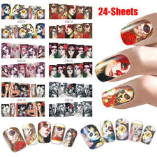 24PCS Nail Art Stickers Transfers Decals Halloween Skull Skelton Funky Devil Set