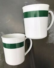 """Rare Pair Of Corning Ware 3 3/4"""" coffee mugs cups white with green Band"""