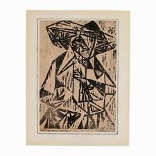 An old expressionist woodcut portrait of a nun Signed Black & white