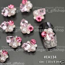 Alloy Jewelry Nail Art Decoration Pink Cube Pearl Glitter Rhinestones #EA134