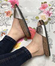 Silver Slider Sandals Size 5 Buckle Metallic Flip Flop Footbed Faux Leather
