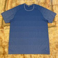 Men's Lululemon Athletic Blue Short Sleeve Workout / Running Gym Shirt Size Xl