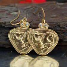 Omer 925 k Sterling Silver Horse Coin Earrings 24k Gold Vermeil Turkish Jewelry