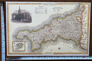 Old Victorian Colour Map Cornwall: 1840 Pigot: Historical, Antique: Reprint