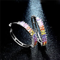 Fashion Round Earrings Women Colorful Crystal Geometric Hoop Earrings Jewelry