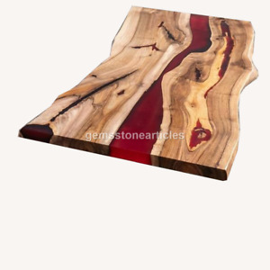 Epoxy Table, Red Design Epoxy River Table, Epoxy Dining Table, Acacia Table Tops