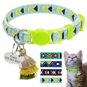 Embroidery Cat Breakaway Collar & Personalised Tag for Pets Quick Release Buckle