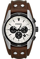 Fossil Mens CH2890 Chronograph White Dial Brown Leather Band Watch