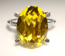 In Oro Bianco 9Ct Diamante & LIMITED EDITION SWAROVSKI DENTELLE LIME ovale anello di pietra