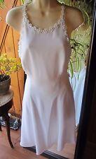 CACHE VINTAGE RARE  Designer Dress Size 6/8~White Low X Open Back~Floral Beads~