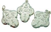MRT Lot Of  3 Four Way Scapular Medal Cross Catholic Pendant Silver Plate Gift