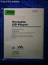 Sony Bedienungsanleitung D E999 /EJ925 CD Player (#2862)