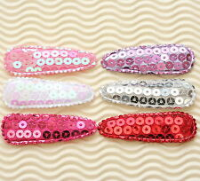 60pc x 5.5cm Padded Shiny Sequined Felt Hair Snap Clip Cover/Bow Appliques ST592
