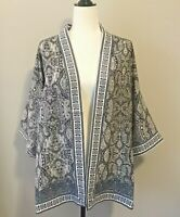 Max Studio Paisley Kimono Womens Size Medium M Boho Cardigan Black Blue $88