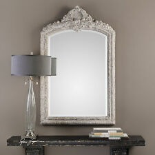 """LARGE 58"""" AGED IVORY RUST FINISH BEVELED WALL MIRROR OLD CARVED VINTAGE STYLE"""