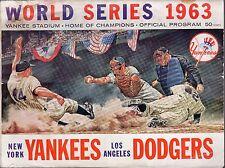 1963 World Series program, Los Angeles Dodgers @ New York Yankees Poor~ unscored