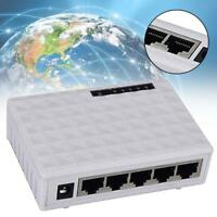 White High Speed Ethernet Switch Network 5 Ports 10/100Mbps Auto-MDI/MD Hub UP