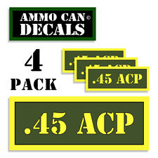 """45 ACP Ammo Can 4x .45 Labels Ammunition Case 3""""x1.15"""" stickers decals 4 pack AG"""
