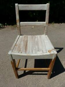 Vintage Wooden Kitchen Office School Chair for Upcycling