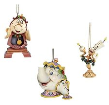 Disney Traditions Cogsworth Mrs Potts & Chip Lumiere Hanging Ornaments