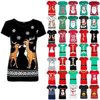 Womens Xmas Christmas Aztec Print Kissing Reindeer Snowflakes Tee Ladies T-Shirt