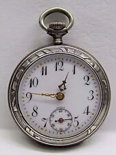 "Antique Lds Silver BEAUTIFUL "" Art Deco "" ENGRAVED  Pocket Watch - 31 mm"