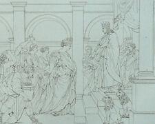 La Reine de Saba rend hommage à Salomon d'après Eustache le Sueur Gravure 19e