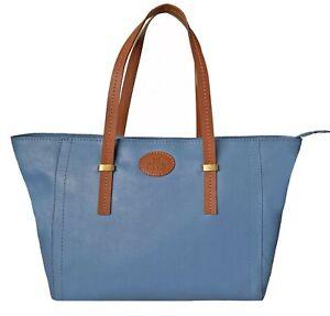 Over 50% Off Rowallan Large Blue Leather Handbag, Tote Bag, Shoulder Bag