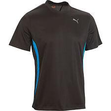 Men's New Puma Running T-Shirt Top - Black & Blue - Fitness Gym Sports Training