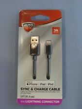 Auto Drive 3ft Sync & Charge Cable, Black