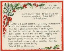 VINTAGE CHRISTMAS SCALLOPED OYSTER RECIPE 1 WINTER GARDEN BEE HIVE SQUIRREL CARD