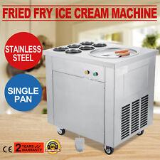 Single Pan Fried Ice Cream Machine Defrost Ice Cream Roll Maker w/ 6 Buckets