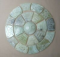 OLD CHINESE CARVED NEPHRITE JADE YIN YANG WHEEL - 21 PANELS