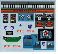 Transformers GENERACIÓN 1, G1 Decepticon partes Reflector REPRO Etiquetas/Sticker