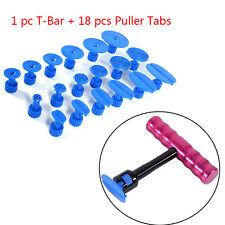 Car Paintless Dent Repair Removal Tool Kit Puller Lifter T-Bar with 18 Glue Tads