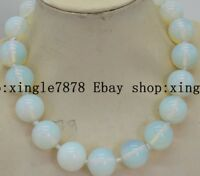 Beautiful 8mm Natural Moonstone Opal Gemstone Round Beads Necklace 20'' AAA