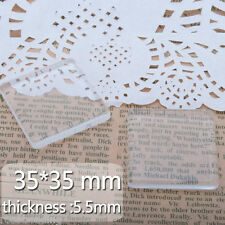 20Pcs 35*35MM Clear Square Double Flat Back Crystal Glass Dome Cabochons C3691