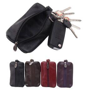 Car Key Case Holder Men Women Leather Wallet Purse Zipper Bag Keychain Organizer