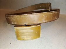 Tony Lama Sz 38 Hand Tooled Brown Leather Western Belt w/ Unique Wooden Buckle