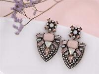 Boucles d'Oreilles Clous Doré Gros Goutte Art Deco Rose Mariage Retro XX20