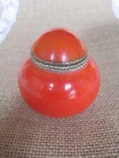 Vintage Brass Lined Orange Trinket Box with Lid
