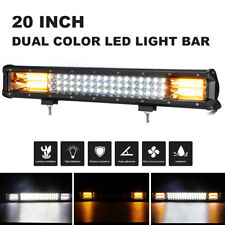 20 Inch 288W Led Strobe Light Bar White Amber Dual Color Off road Car SUV Truck