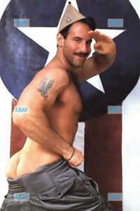 POSTCARD Print / Nude Steve star salute  / Gay Interest